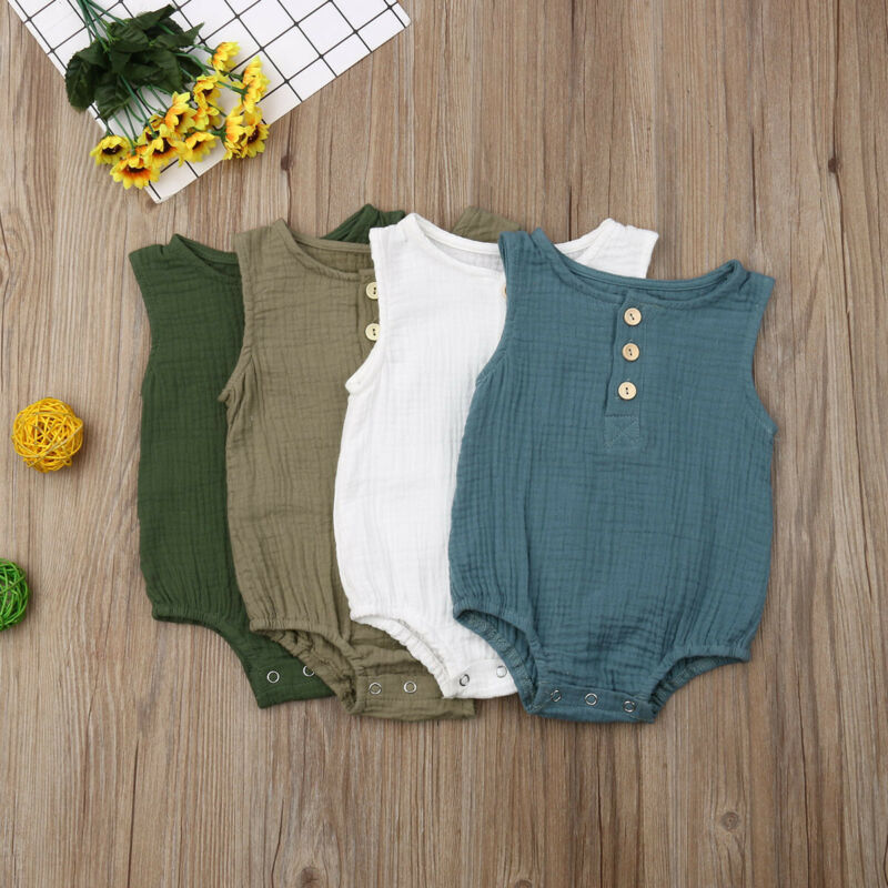 Summer Newborn Baby Girls Sleeveless Cotton Romper Solid Jumpsuit Clothes Tops 0-2Y
