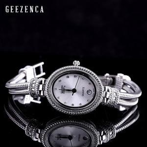 Image 3 - 925 Sterling Thai srebrny inkrustowane niebieski korund bransoletka zegarka kobiet Trendy rocznika japonia zegarek kwarcowy bransoletki biżuteria
