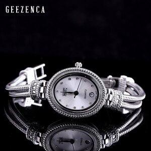 Image 3 - 925 סטרלינג תאילנדי כסף משובץ כחול קורונדום צמיד שעון נשים טרנדי Vintage יפן תנועת קוורץ שעון צמידי תכשיטים
