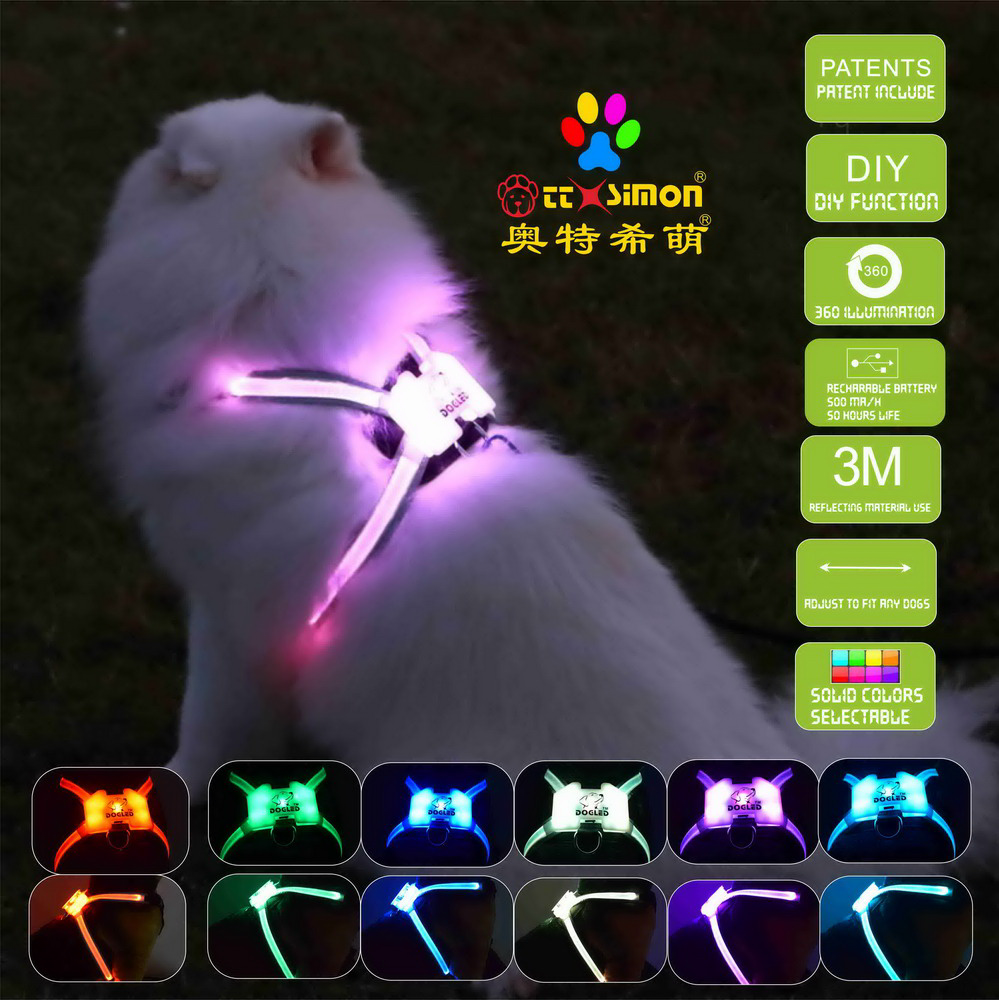 rgb dog collar led dog accessories for large  Reflective Harness for Dogs 2021