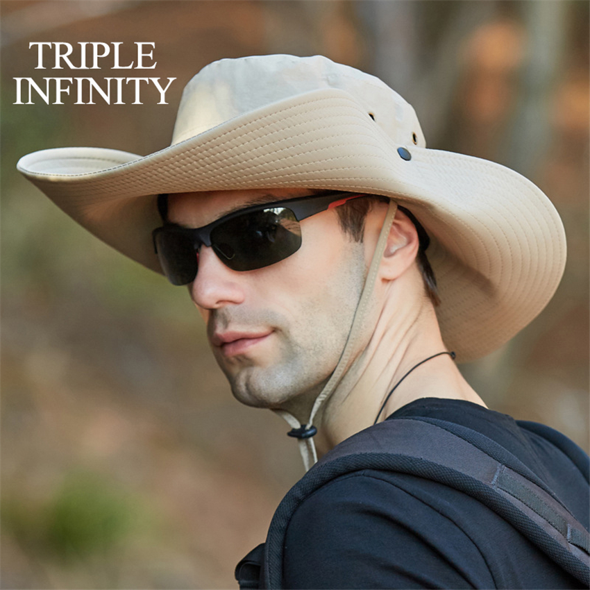New Summer Men's Panama Hat Outdoor Oversized Wide Brim Large Designer Bucket Hat Male Mountaineering Fishing Hiking Sun Hat Bob