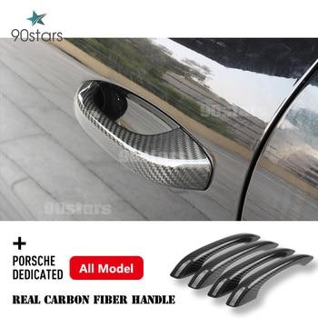 For Porsche 718 Cayenne Macan Panamera 2017 2018 2019 2020 Carbon Fiber Car Exterior Door Handle Cover Moulding Trim Car Styling 1