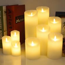 Zasilanie bateryjne symulowana świeca LED parafina świeczka bez ognia na nowy rok boże narodzenie dekoracyjne dekoracje ślubne domu tanie tanio CN (pochodzenie) Świeczka led Filar Home decoration Świeca lampy Bezpłomieniowe 7 5 cm AAA for dia 7 5cm(not included)
