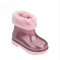 Mini Melissa Winter Warm Girls Boy Snow Boots For Children Boots Toddler Princess Non slip Flat Lovely Girls Baby Shoes