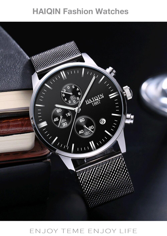 H0b2d0e2109d24d78929408ce0473af6bX HAIQIN 2019 Fashion Mechanical mens watches top brand luxury sport wristwatch men waterproof Quartz mens clock Relogio Masculino