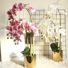 Большие латексные орхидеи с 3D печатью, белые Искусственные цветы, имитация на ощупь руками, цветок орхидеи для дома, свадебные украшения, цв...