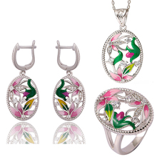 KOFSAC Women 925 Sterling Silver Jewelry Sets New Beautiful Oval Enamel Pink Flower Zircon Hollow Necklace Pendant Earrings Ring