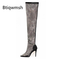 2020 Sexy Rhinestone Sock Boots Women Pointed Toe Black Transparent High Heel Shoes Woman Sexy Over The Knee Boots