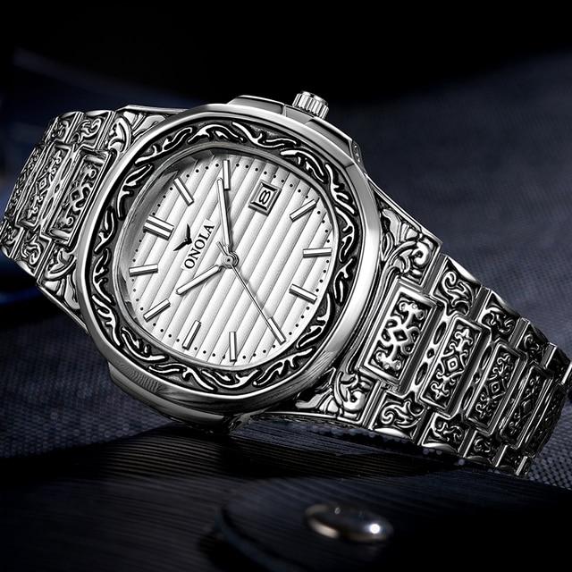 ONOLA Men's Retro Classic Vintage Fashion Calendar Date Display Waterproof Quartz watches 2