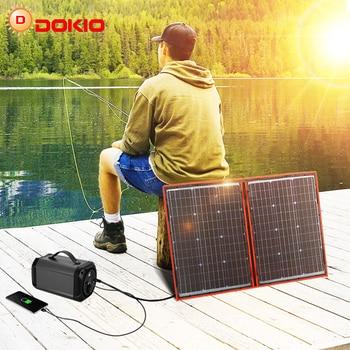 Panel solar plegable de 100 W Dokio  (55Wx2 uds), 18V, color negro, China, controlador de 12 voltios, paneles solares de 100 vatios 1