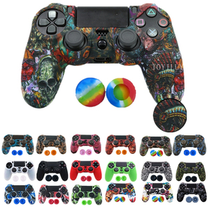 1PCS Anti-slip Silicone Cover Protect Skin Case for Sony Play Station Dualshock 4 PS4 Pro Slim Controller+2Thumb grips accessory(China)