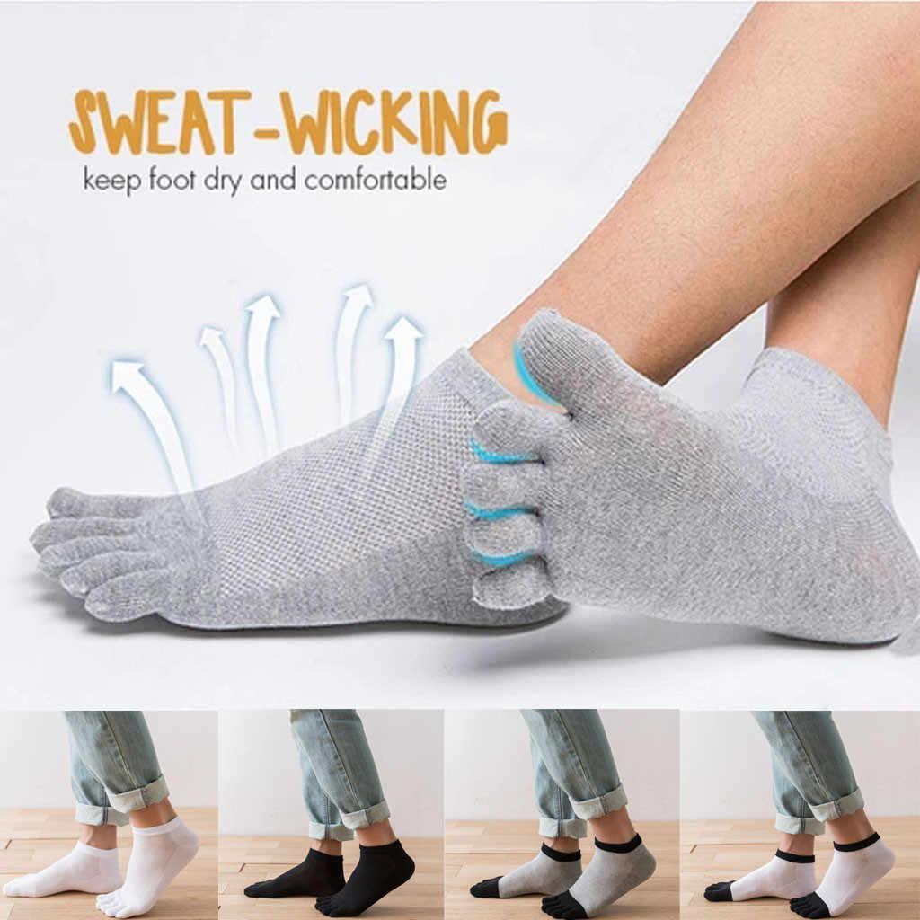 Komik çoraplar 3 Pairs Erkekler Kadınlar Unisex Rahat Düz Renk Anti-koku Bambu Elyaf Çorap Nefes Beş Ayaklı Çorap calcetines