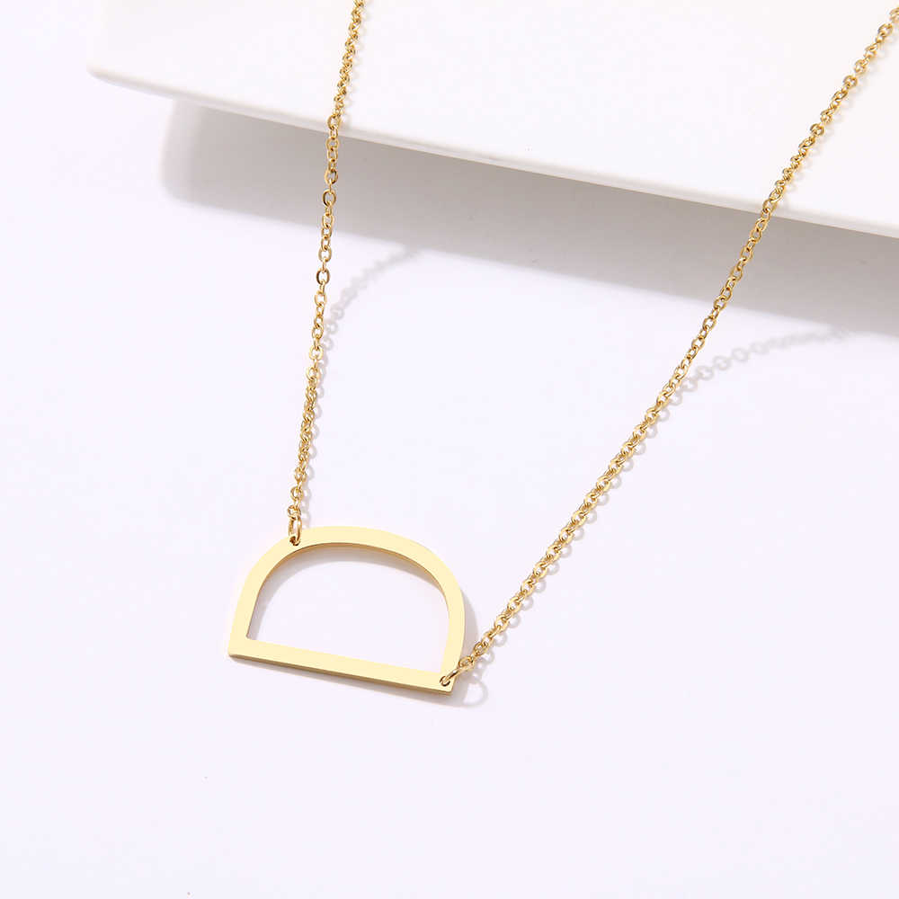 DOTIFI Elegan 26 Huruf Kalung untuk Wanita Liontin Huruf Stainless Steel Kerah Awal Kalung Perhiasan Hadiah
