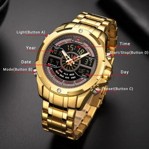 Image 3 - New NAVIFORCE Gold Men Watch Waterproof Sports Mens Quartz Wrist Watch Digital Male Top Brand Luxury Clock Relogio Masculino
