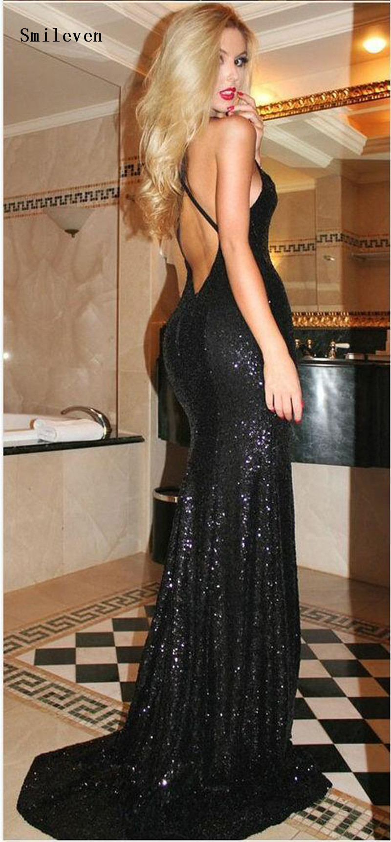 Smileven Black Sequined Mermaid Evening Dresses sexy V-neck Sleeveless Long Prom Gowns Special Occasion Evening Party Gowns