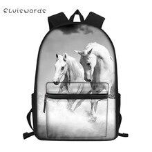 ELVISWORDS Childrens Canvas Backpack Cute Horse Prints Pattern Students School Book Bags Little Kids Fashion Travel Backpacks