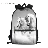 ELVISWORDS Children's Canvas Backpack Cute Horse Prints Pattern Students School Book Bags Little Kids Fashion Travel Backpacks