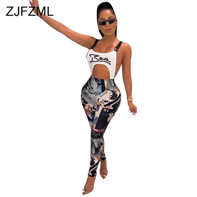 Graffiti Print Autumn Bodycon Jumpsuit Women Spaghetti Strap Backless Party Playsuit Casual Waist Band Cut Out Sleeveless Romper