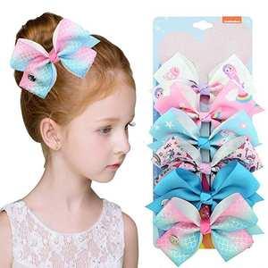 6 Pcs/Set JoJo SiWa Hair Bows Vnicorn Mermaid Knot Ribbon Bow For Girls Children Boutique