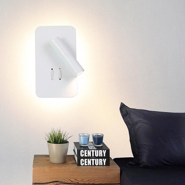 Đèn LED Dán Tường Đọc 3W 6W Dải Ánh Sáng Đèn Sau Phòng Ngủ Nghiên Cứu Phòng Khách Sconce Điều Chỉnh Có Công Tắc đầu Giường Đèn