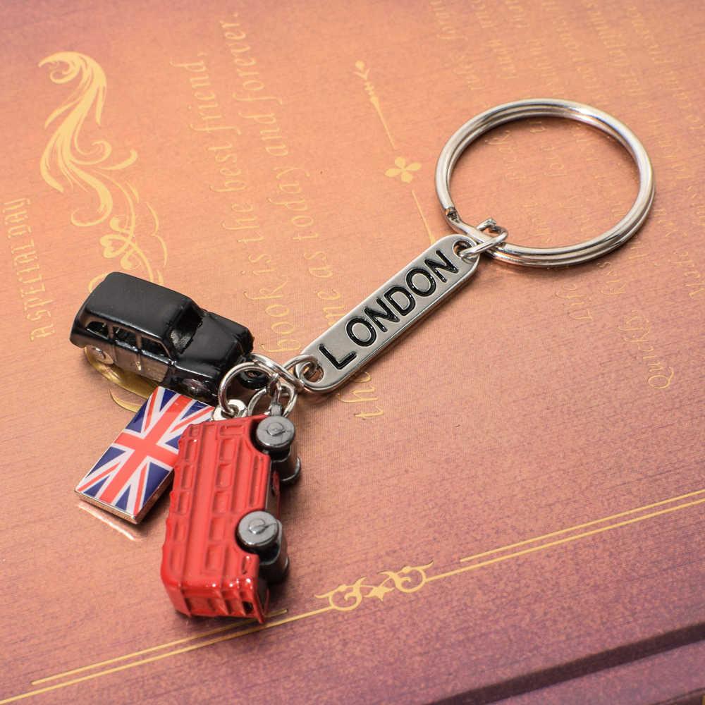 Vicney Fashion London Lettering список брелок Лондон красный и черный такси британский флаг сувенирный подарок для брелока кольцо для ключей