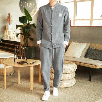 2020 men chinese traditional suits tang suit wu shu tai shaolin kung fu wing chun shirt long sleeves top+pants set