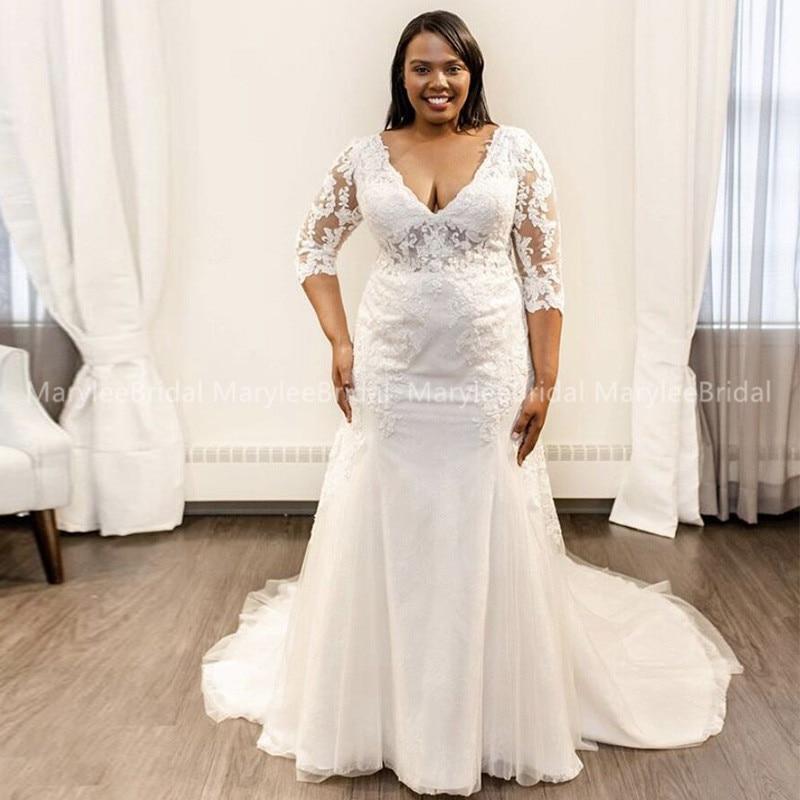 Women Sheer Half Sleeves Wedding Dresses Mermaid V-neck Vestido De Novia Tulle Appliques Plus Size Bridal Dresses Veding Dress