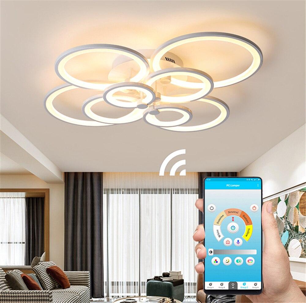 85-265V Remote Control Acrylic Ceiling  Lights For Living Room Bedroom Home Chandelier Ceiling Fixtures APP Indoor Lighting