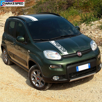 Car Hood Roof Tail Decor Stickers For-Fiat Panda Corss 4X4 OFF RAOD Stripes Exterior Auto Body Engine Cover Vinyl Decals 1