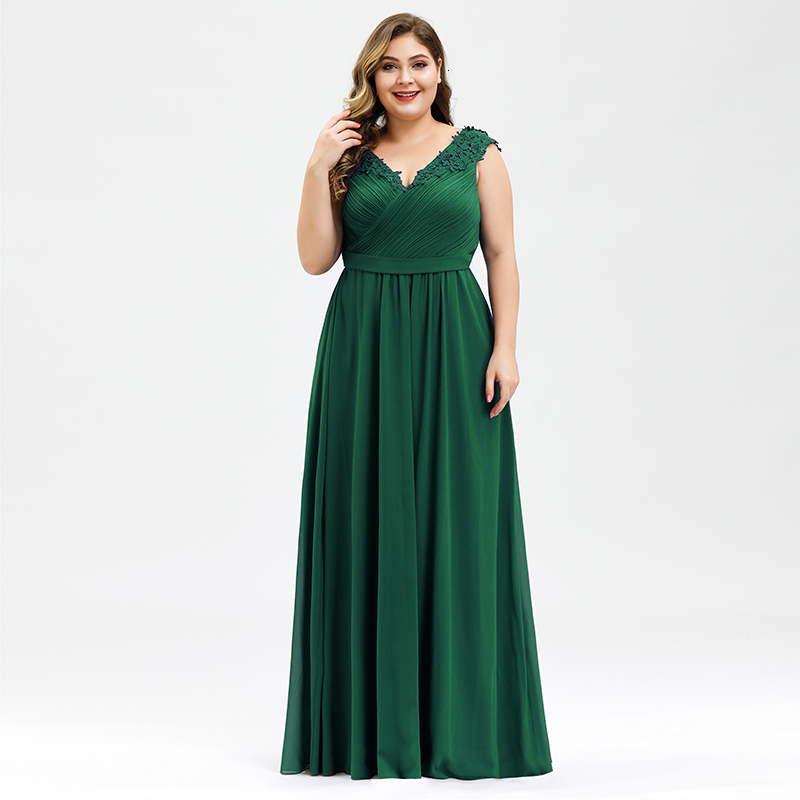 Elegant Evening Dresses Plus Size A-Line V-Neck Appliques Sleeveless Ruched Chiffon Formal Evening Party Gowns Robe Longue 2020