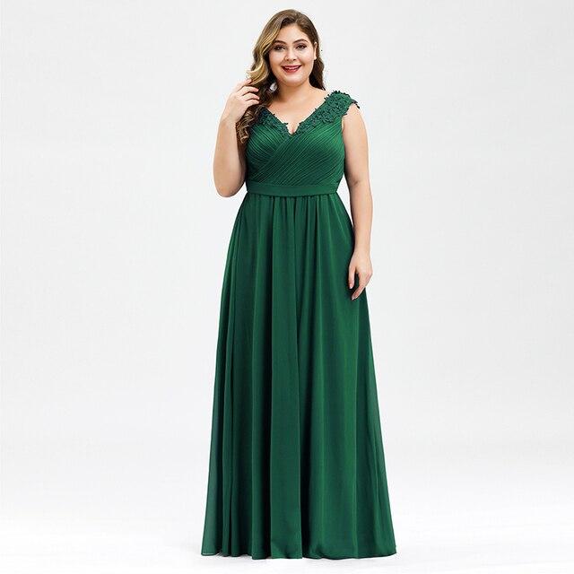 אלגנטי ערב שמלות בתוספת גודל אונליין V צוואר אפליקציות שרוולים Ruched שיפון פורמליות ערב מסיבת שמלות Robe לונג 2020