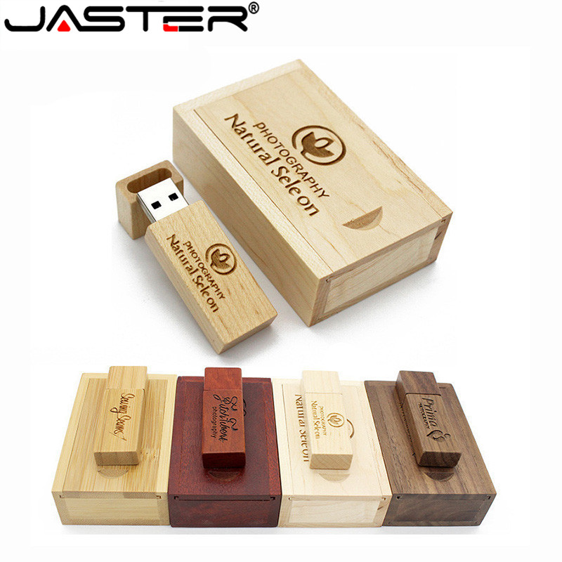 JASTER USB 2.0 Wooden Memory Stick Usb Flash Drive Pendrive4GB 16GB 32GB 64GB U Disk Wedding Gift Business 1PCS Free Custom Logo