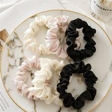 Branco em pó imitação de tecido de seda grande intestino círculo europeu e americano menina onda cabelo cor sólida cocar