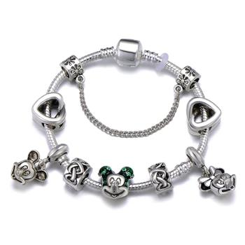 Cute Mickey Mouse Themed Bracelet Bracelets Jewelry New Arrivals Women Jewelry Metal Color: 30 Length: 20cm