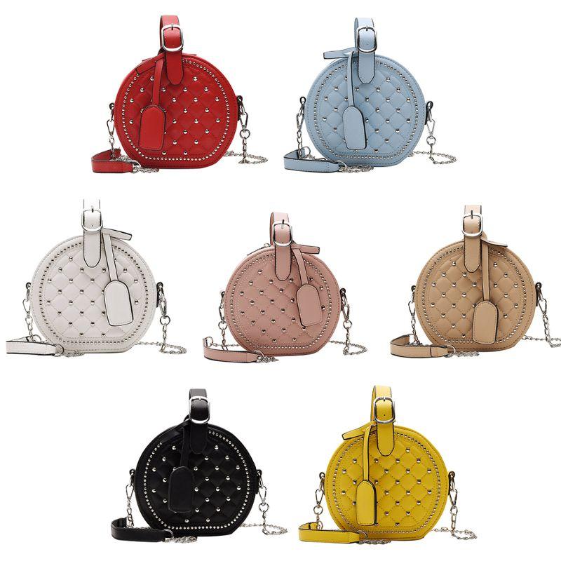 THINKTHENDO Women Chain Crossbody Solid Color PU Rivet Decor Sweet Style Lady Shoulder Bags