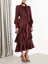 019 early autumn new European and American style fashion silk multicolor layered dress