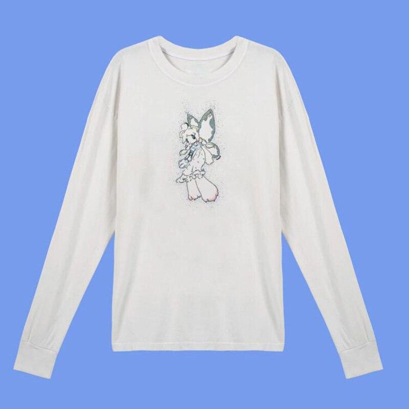 Летняя Осенняя свободная повседневная женская рубашка с длинным рукавом и принтом «shine angel», белый хлопковый топ с длинным рукавом для женщи...