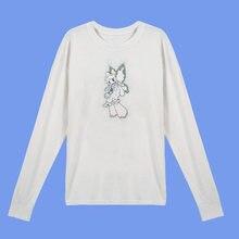 Verão outono longsleeve solto causal feminino topos impressão brilho anjo camisa de algodão branco manga comprida topo feminino