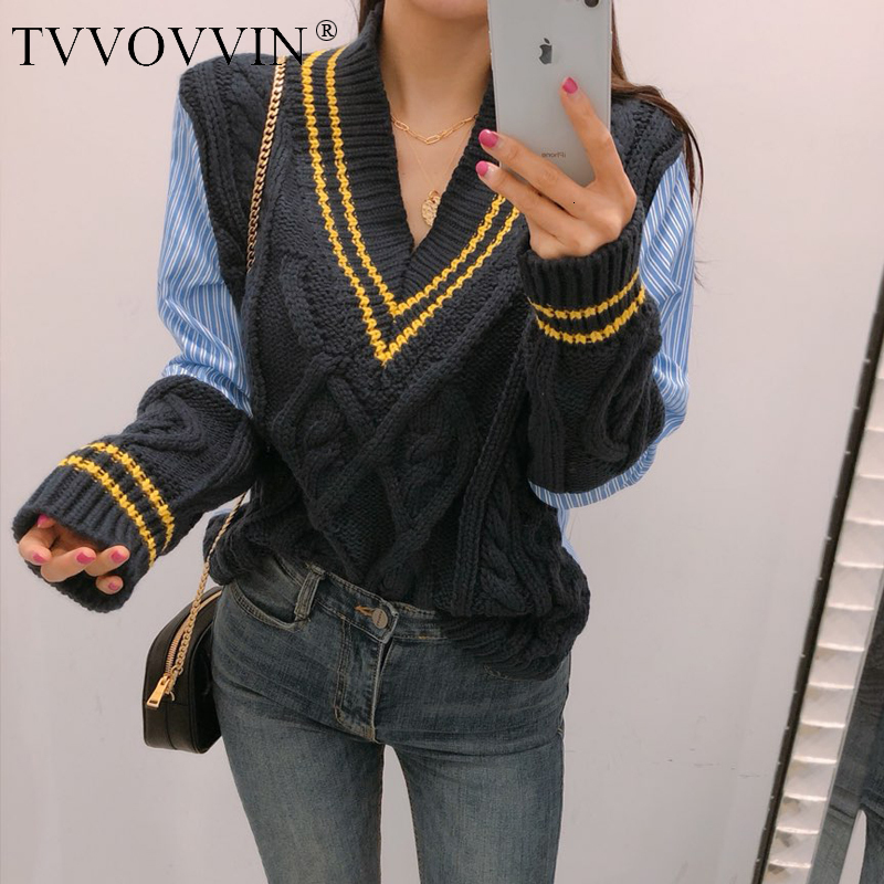 TVVOVVIN2019 Autumn Winter Korean Style Pullovers Knitted Sweater Women V-neck Casual Striped Female New Fashion Women Tops F271