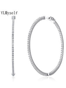 Hoop Earring Jewelry 925-Silver Real-Sterling-Silver Large Crystal 56mm Big Recommend