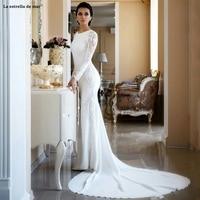 New 2019 Lace Appliqued Beaded Berta Sweep Train Boho Mermaid Wedding Dress Bridal Gowns Plus Size Sleeves abiti da sposa