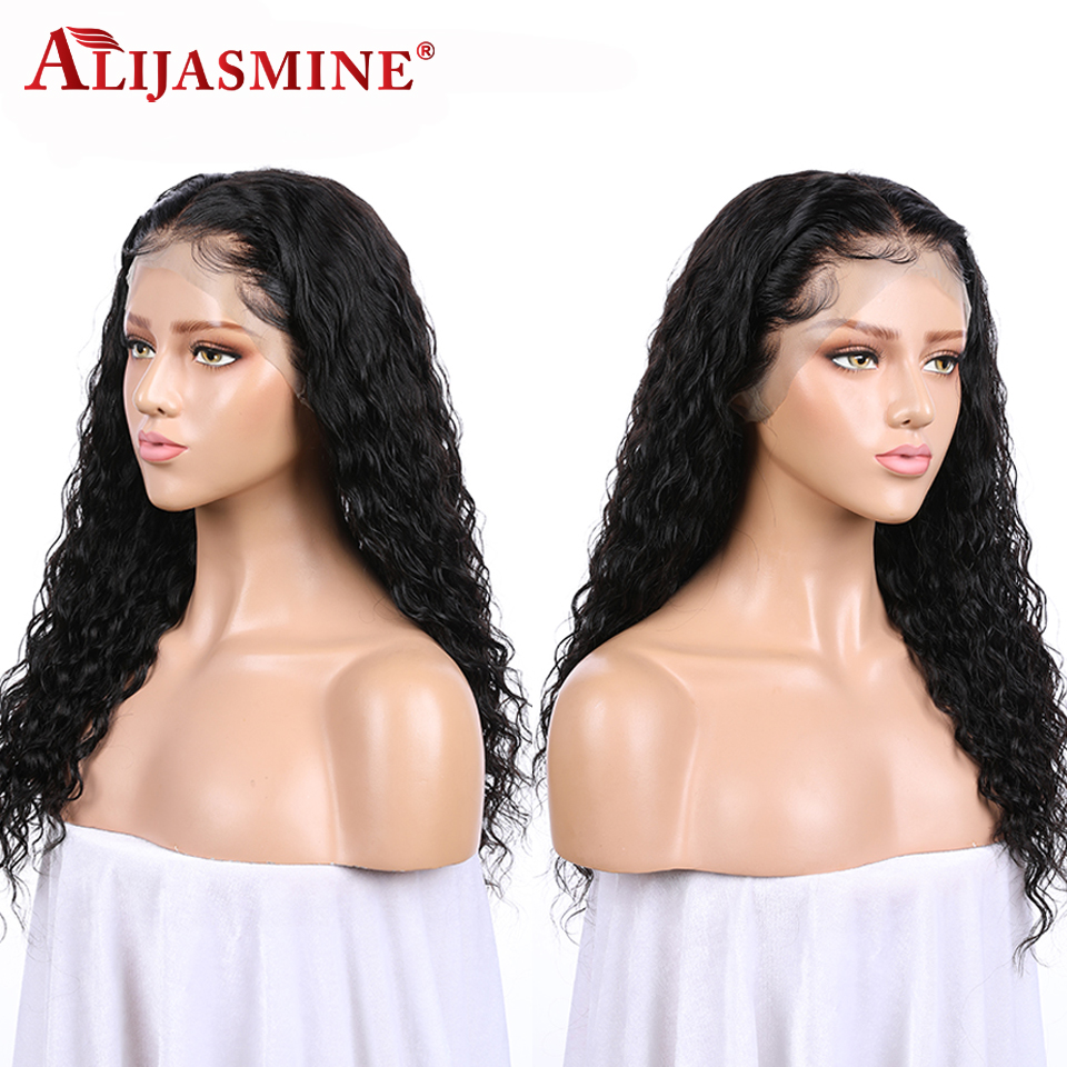 AliJasmine Curly Lace Front Wigs Peruvian Human Hair Wigs For Black Women With Baby Hair Remy Hair Natural Black Color-in Human Hair Lace Wigs from Hair Extensions & Wigs    2