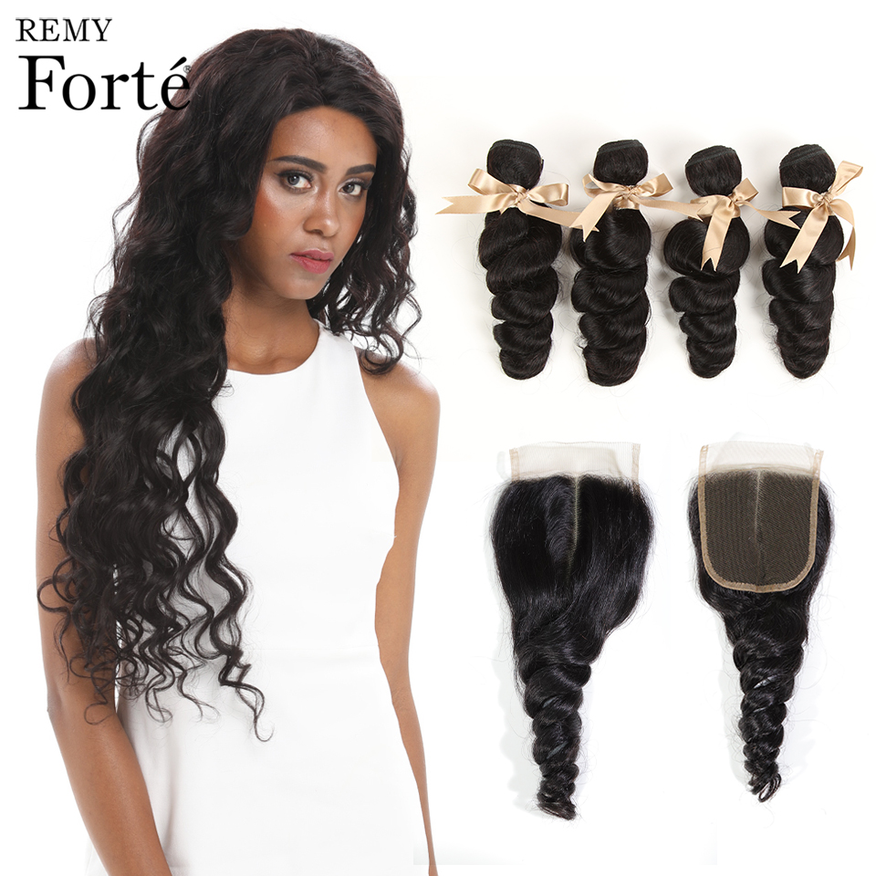Remy Forte Loose Wave Bundles With Closure 10-30 Inch Hair Non Remy Brazilian Hair Weave Bundles 3 /4 Wave Bundles With Closure