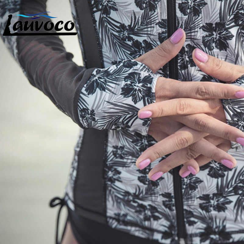 3 חתיכות ארוך שרוול Rashguard נשים לייקרה חולצה אנטי Uv בגדי ים גלישה בגד ים רוכסן פריחה משמר חליפת שחייה ללבוש חולצות