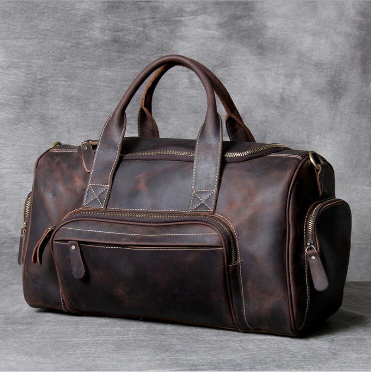 MAHEU 2019 nouvelle marque de mode concepteur voyage d'affaires sac de voyage pour homme en plein air en cuir véritable chaussure sac de sport mâle café noir