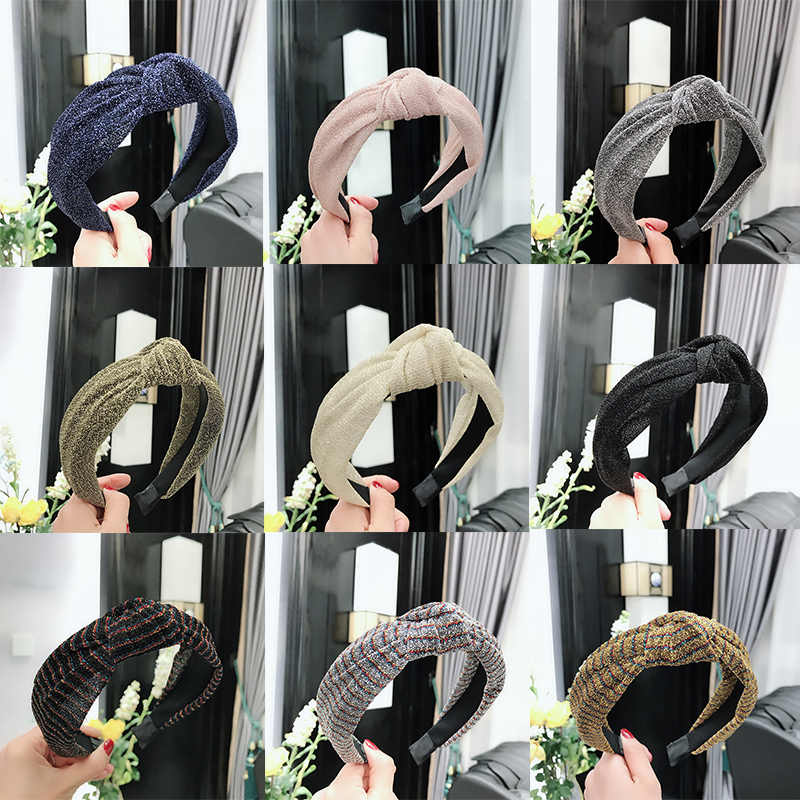 Simple Glitter Shiny Sequin Cloth Fabric Hairband Cross Knotted Wide Headband Hair Hoop For Women Girls Fashion Hair Accessories