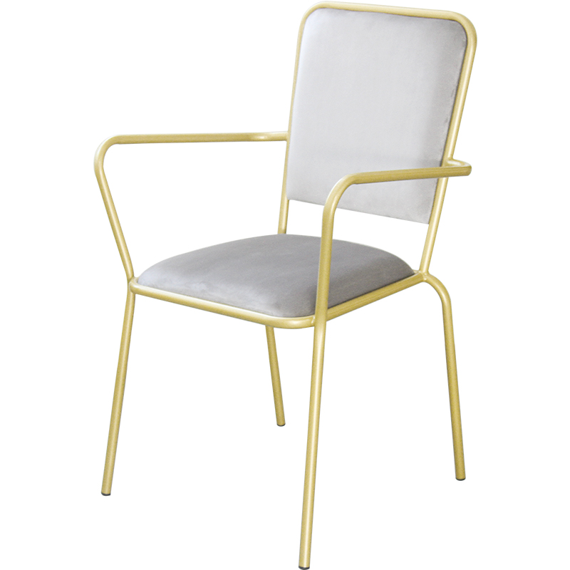 Northern Europe Single Dining Chair With Armrest Home Modern Simple Light Luxury Ins Wind Back Bedroom Makeup Iron Chair