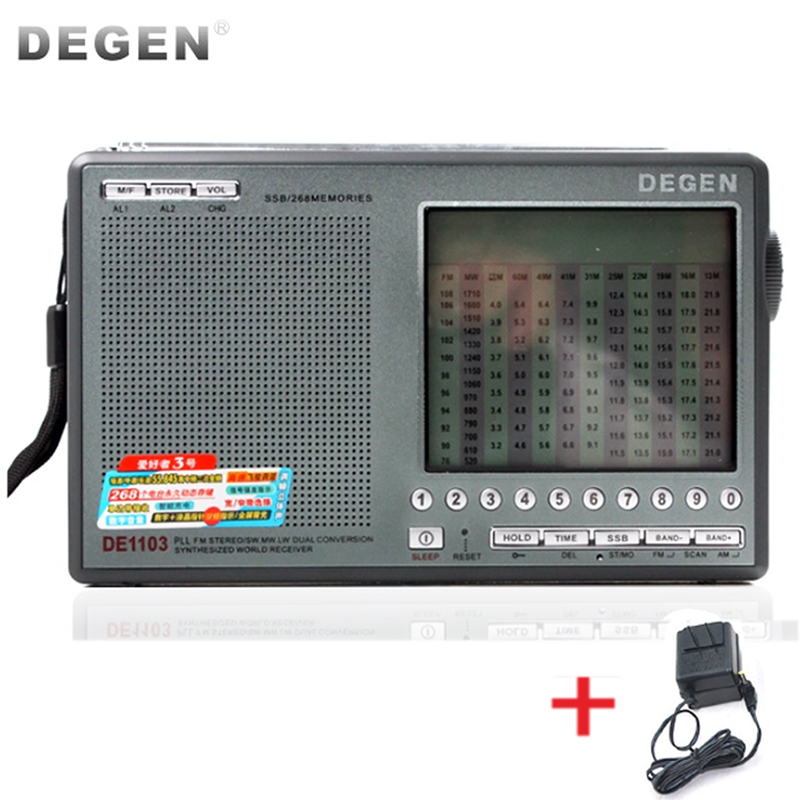 Degen DE1103 цифровой FM AM LW MW SW стерео радио DE1103 Degen DE-1103 SSB бит новая версия DSP