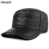 XdanqinX Genuine Leather Hat Men's Sheepskin Leather Baseball Cap Adjustable Size Men Flat Caps Autumn Fashion Bone Snapback Cap