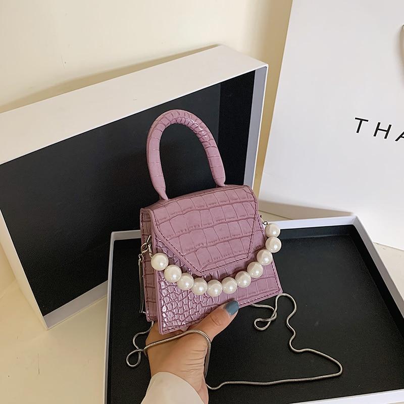 Bolsos cruzados de cuero con estampado de piedra para mujer, monederos y bolsos, diseño de perlas, Mini bolsas de mensajero de hombro, bolso de mano pequeña para mujer